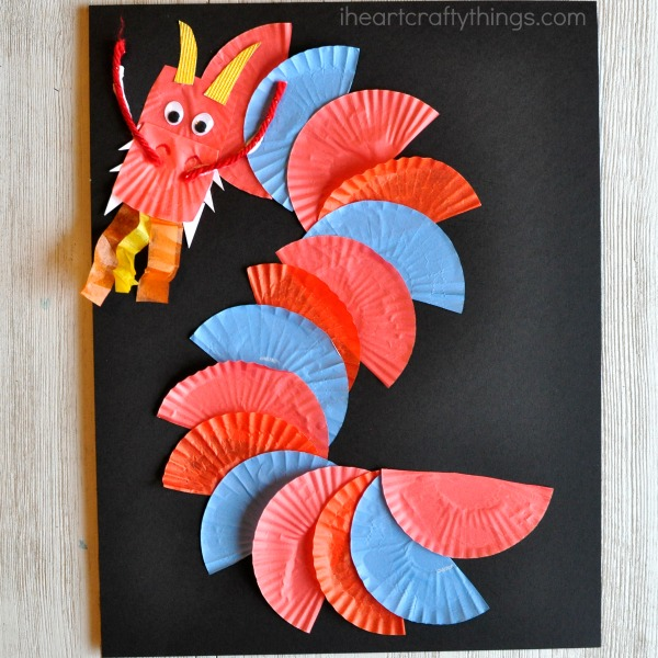 cupcake liner dragon craft