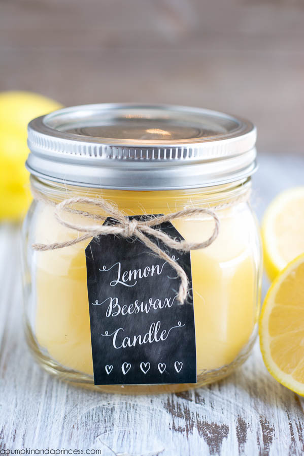 diy lemon beeswax candle