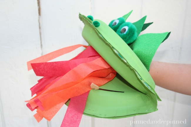 dragon paper plate puppet