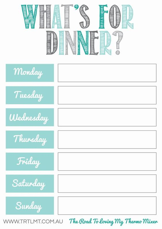 Dynamic image in menu planner printable