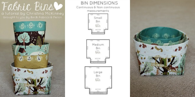3 Nesting Fabric Bins free sewing pattern