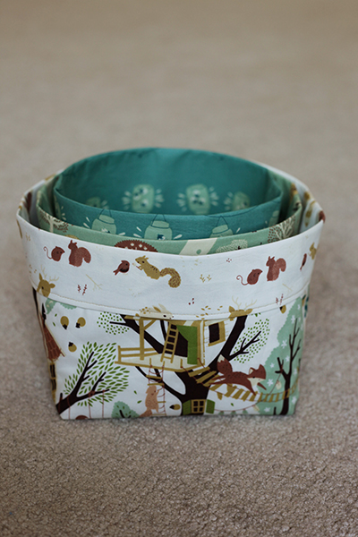 free fabric bins sewing pattern by Christina McKinney three sizes