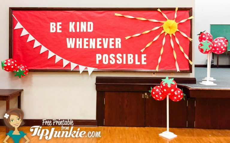 Be Kind Whenever Possible Strawberry Red Balloon Gym decorations TipJunkie