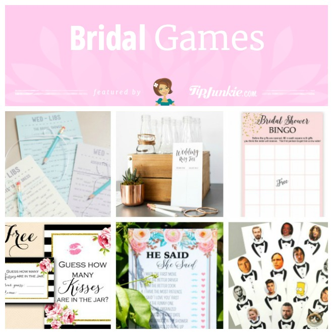 how to make bridal shower games with these free printables which include he said she said wedding ring toss bridal shower bingo who has the groom