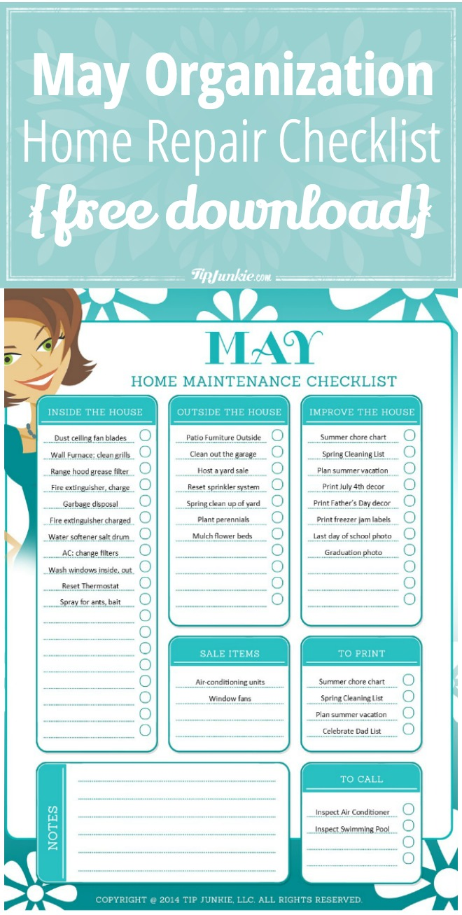 May Organization and Home Repair Checklist {free download}