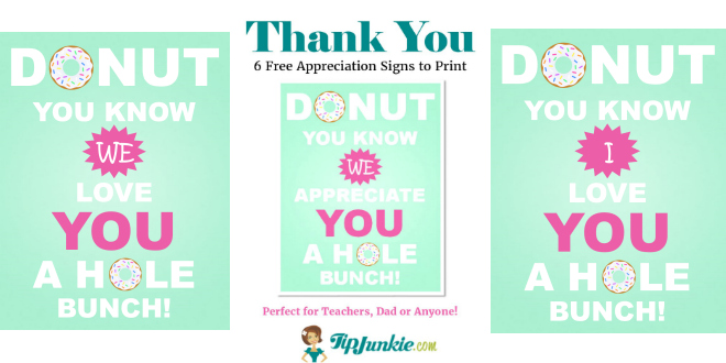 Free Donut Appreciation Sign Feature by TipJunkie
