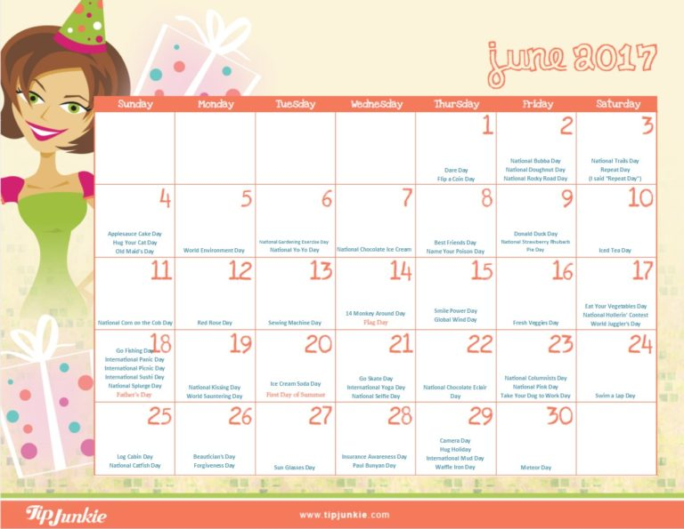June 2017 Holiday Calendar by Tip Junkie