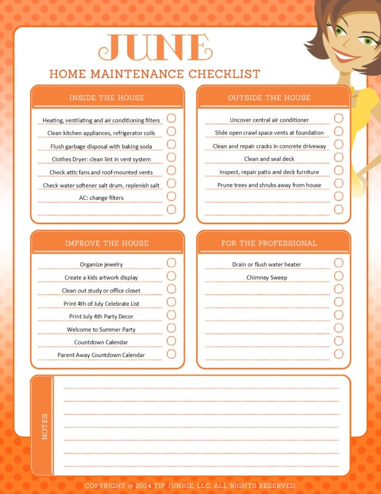 June Organization and Home Repair Checklist