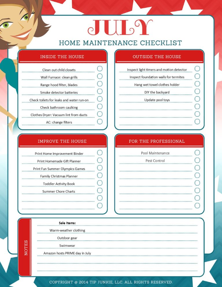 July Organization and Home Repair Checklist