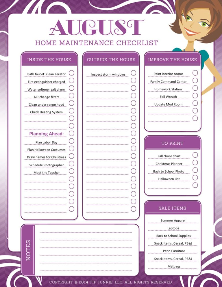 August Organization and Home Repair Checklist