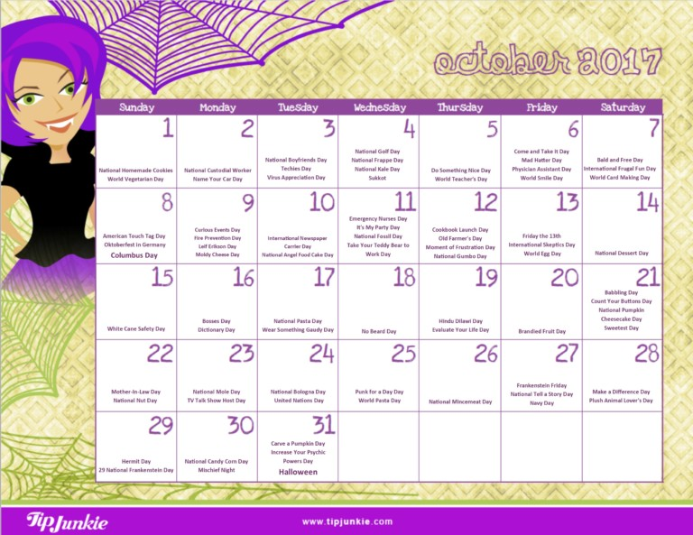 October 2017 Printable Calendar with Holidays
