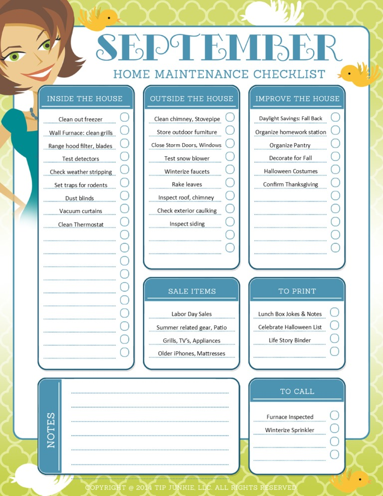 September Maintenance and Home Repair Checklist