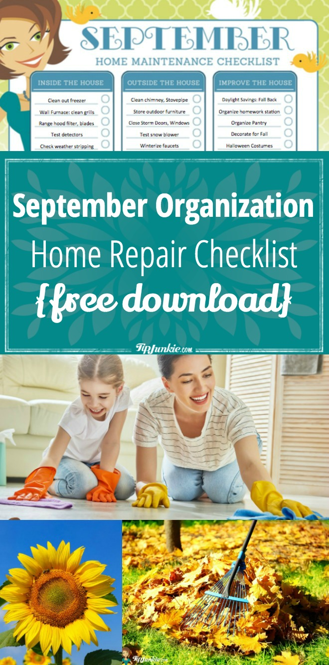 Tons of ideas to help you get your home repaired and organized for September! FREE printable list!