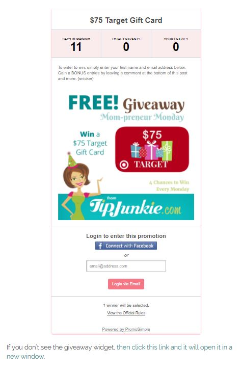 Simple Promo Giveaway Widget on Tip Junkie