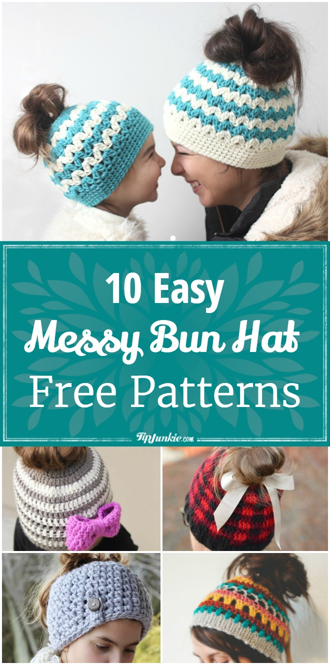 10 Easy Messy Bun Hat Patterns [Crochet & Knit]