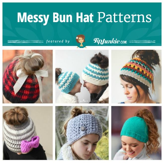 60 Easy Messy Bun Hat Patterns [Crochet Knit] Tip Junkie Enchanting Bun Hat Pattern
