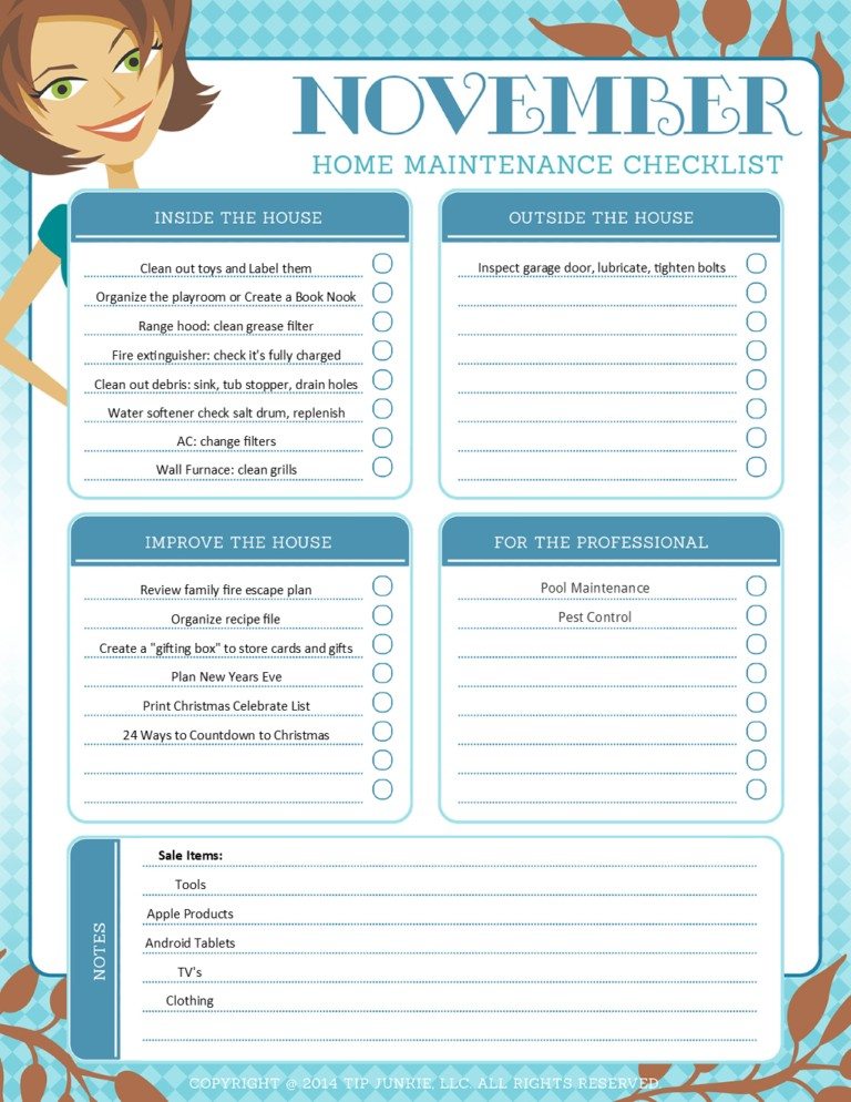 November Organization and Home Repair Checklist
