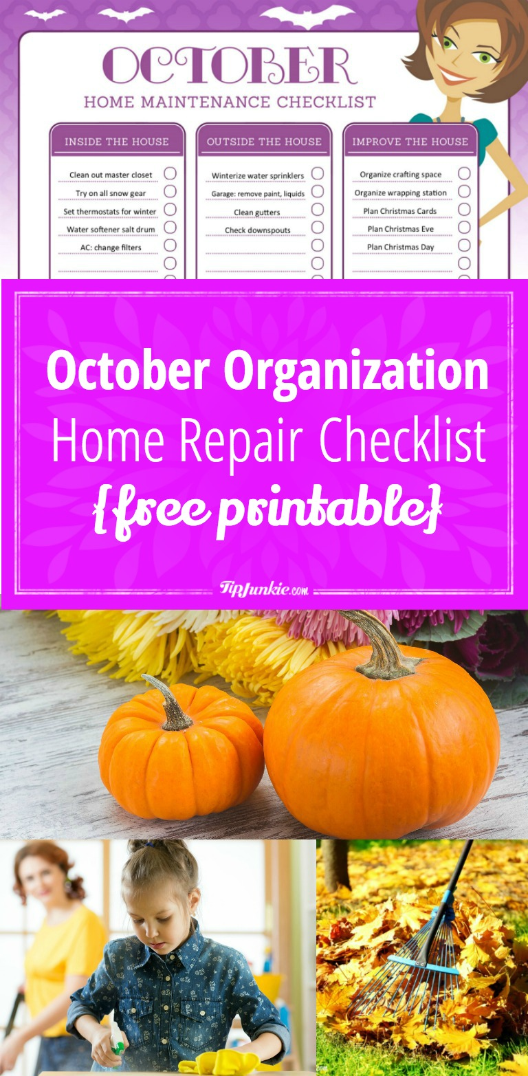 October Organization and Home Repair Checklist pinnable
