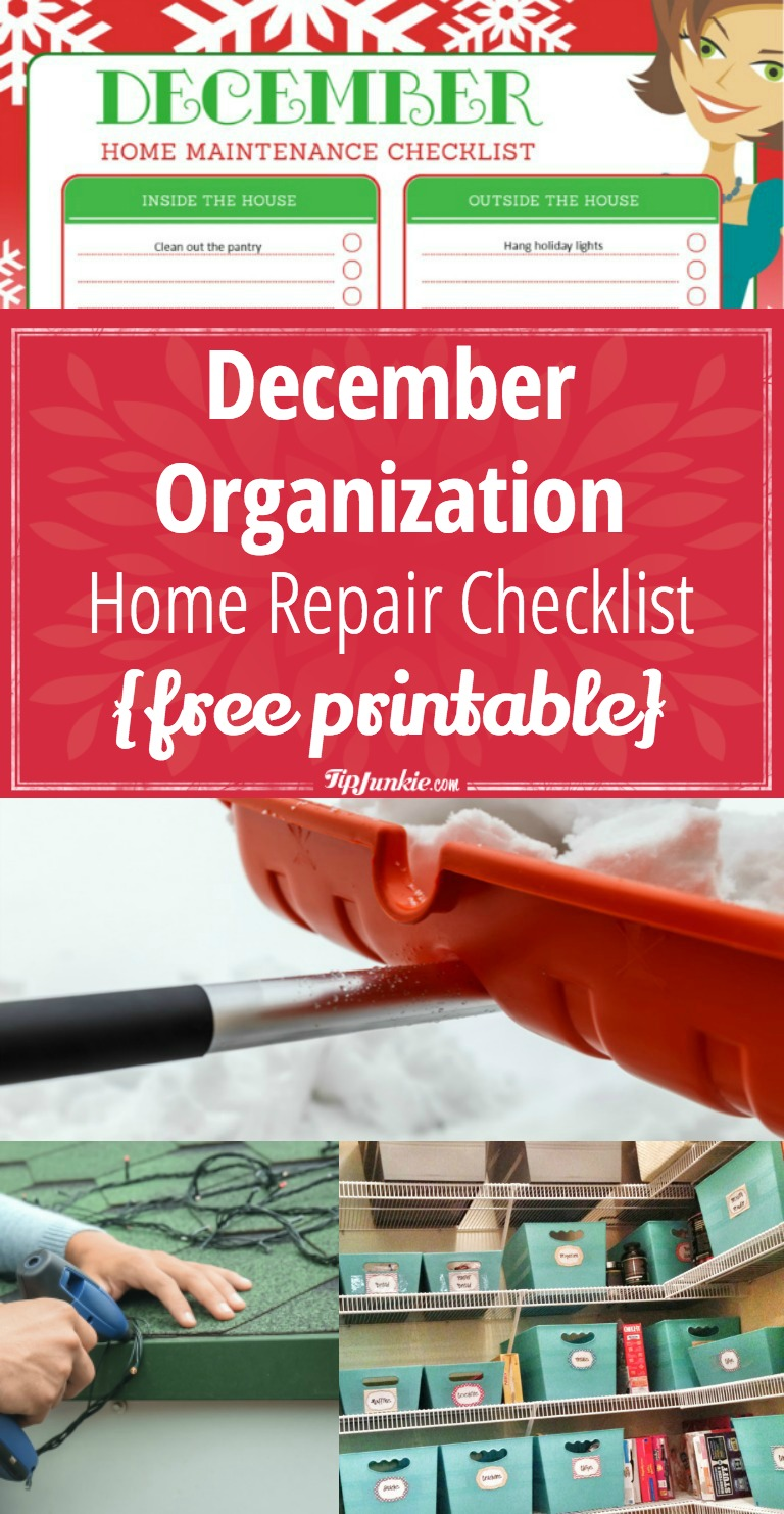 December Organization and Home Repair Checklist