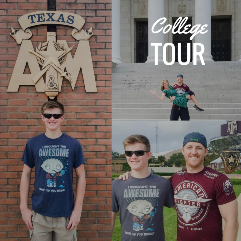 Davis Scott and Laurie at Blinn and Texas A&M College Tour
