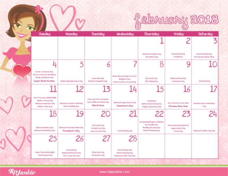 February 2018 Printable Calendar with Holidays