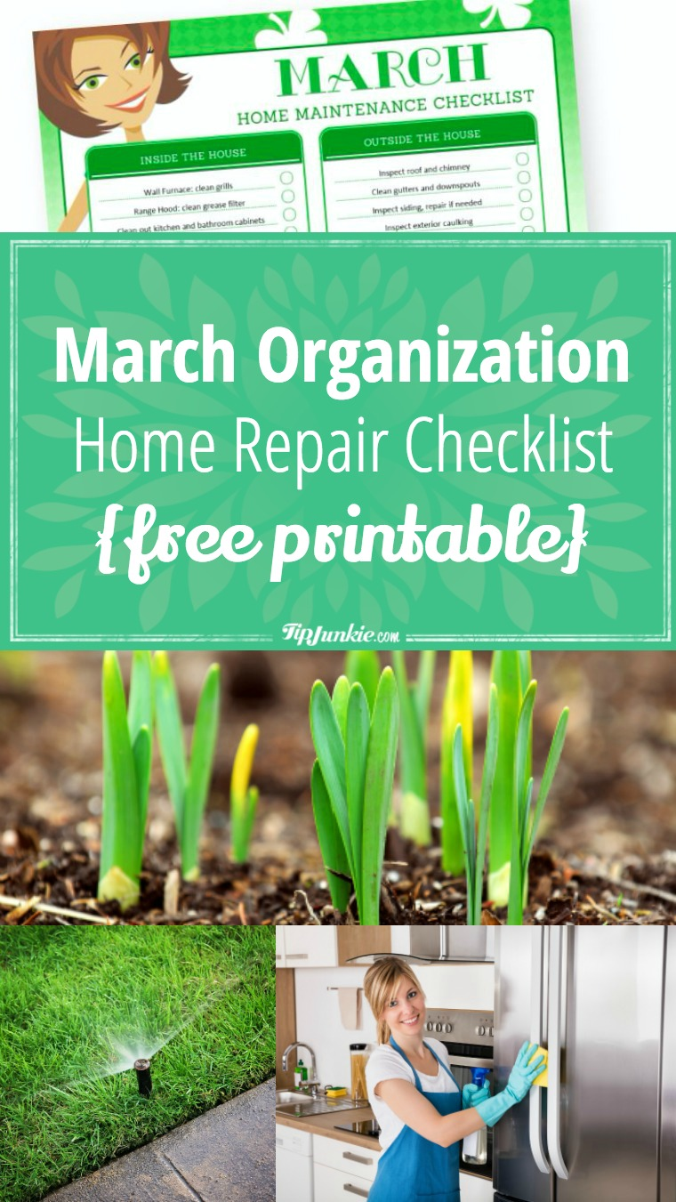 March Organization and Home Repair Checklist