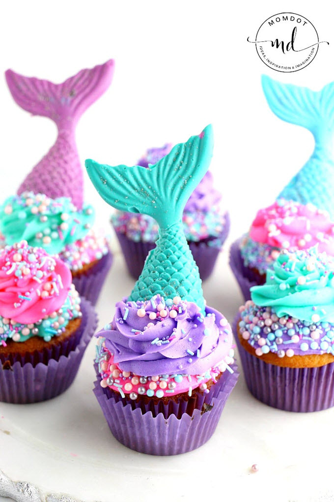 Mermaid Cupcake Recipe With Tail Toppers
