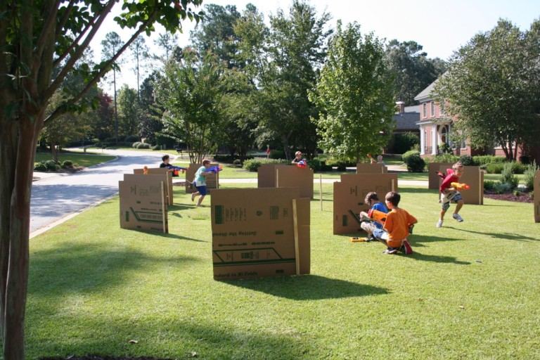 Nerf Games Obstacle Course using Cardboard