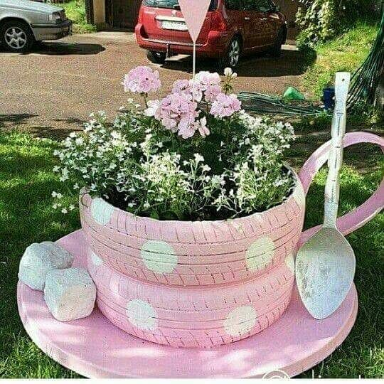 Used Tire Garden Tea Cup
