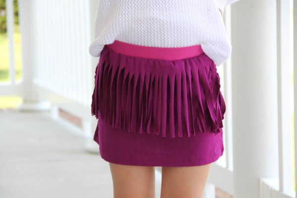 DIY Cut Fringe Tshirt Skirt