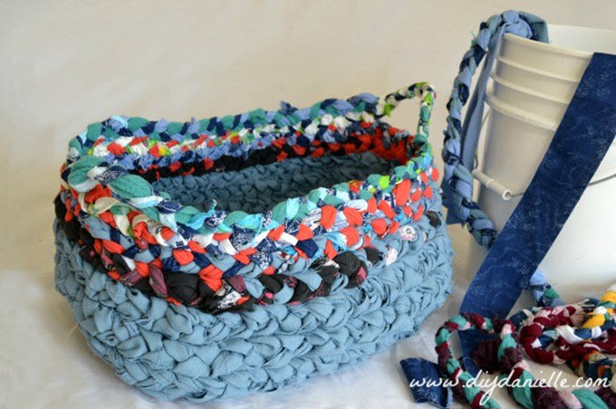 Simple Braided Fabric Basket With Handles