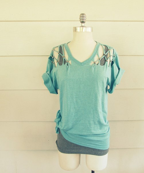 Studded DIY Cut Tshirt Vneck