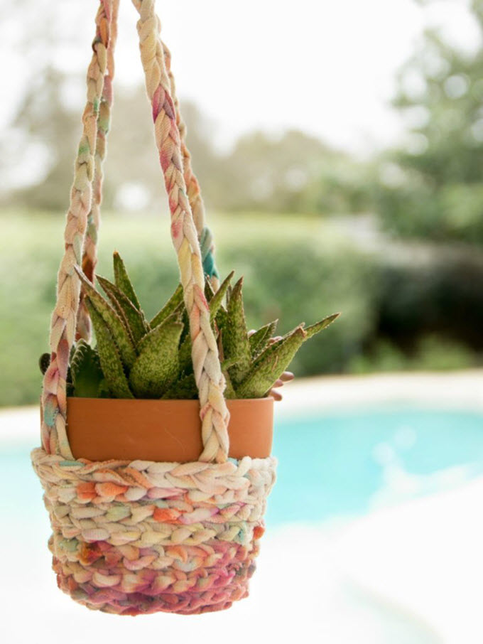 Tie Dyed T-Shirts Turned Boho Hanging Planter