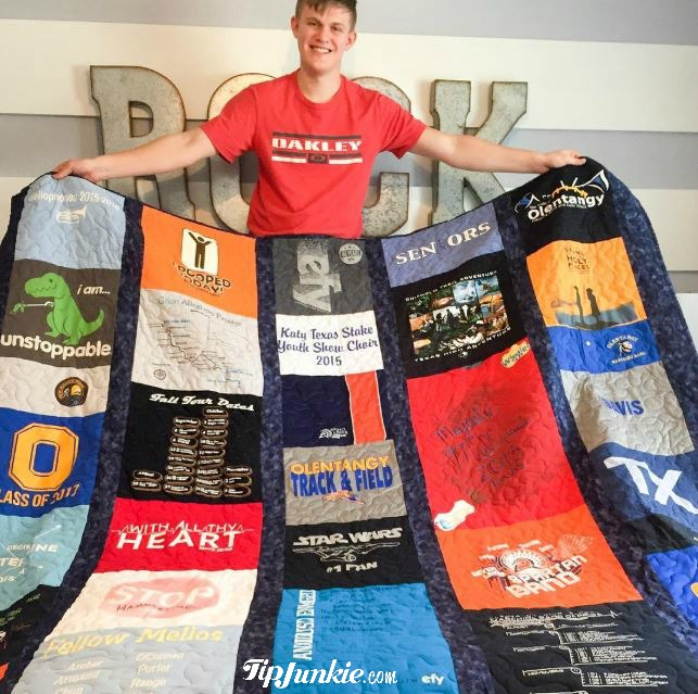 Tip Junkie Old Band Shirts Memory Quilt for High School Seniors
