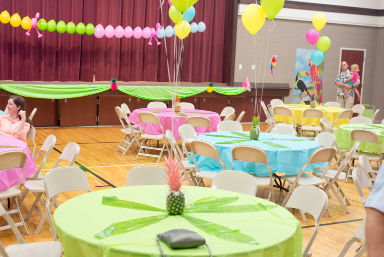 luau decorations for a church gym