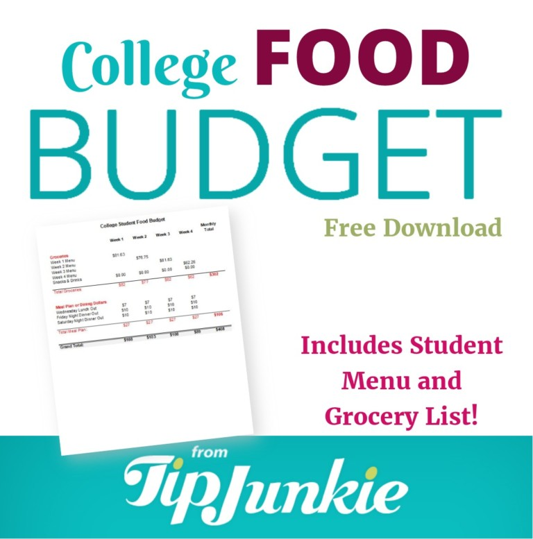 College Student Food Budget example in Excel Spreadsheet
