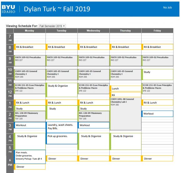 Dylan's college life schedule example