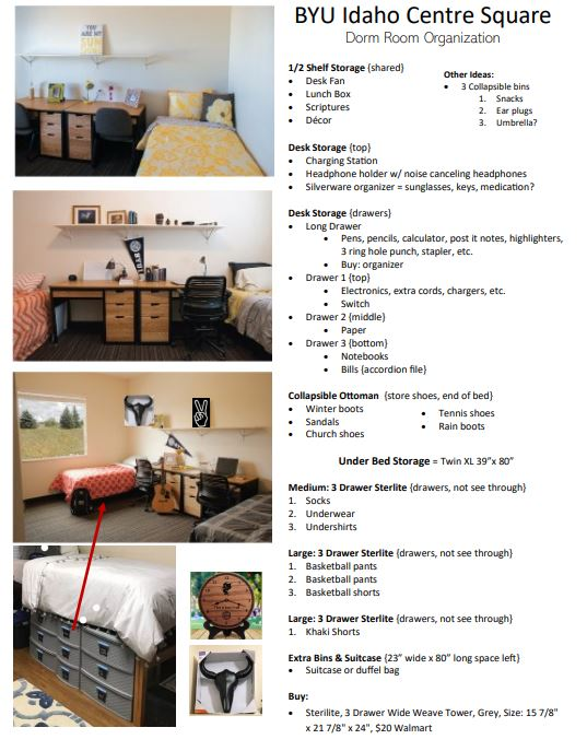BYU Idaho Centre Square Dorm Ideas and Wall Decor