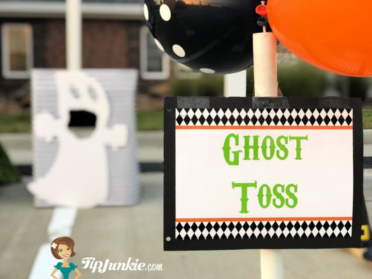 Carnival Halloween Party Game Signs in Black Orange and Green