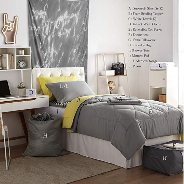 College Dorm Bedding Pack Twin XL Bundle to Buy on Amazon