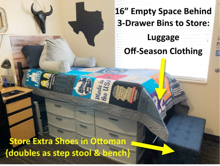 College Freshman Advice Storage Organization Winter Clothing and Shoes