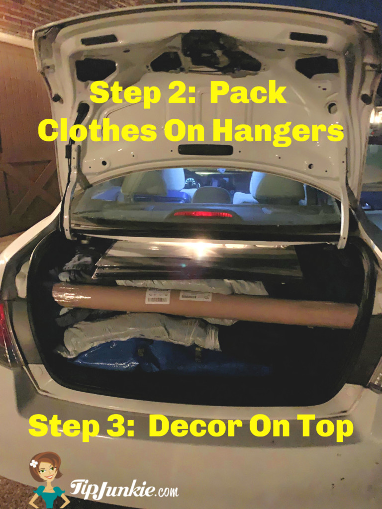 Dorm Moving Tips Pack Car with Clothes on Top then Decor