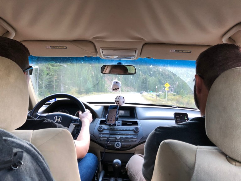 Jason Laurie and Dylan driving to BYU Idaho College