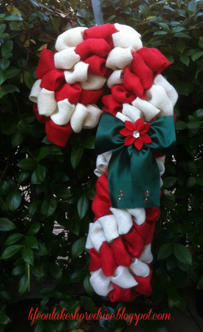 Candy Cane Burlap Wreath