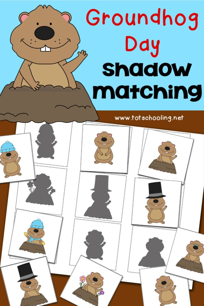 Groundhog Day Shadow Matching {free printable}