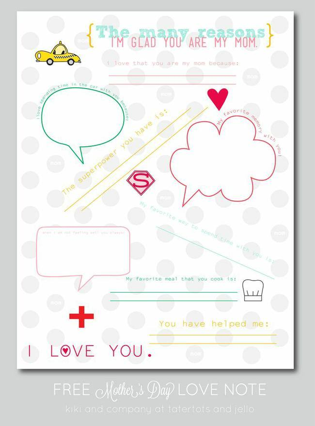 Mother's Day Love Note Printable
