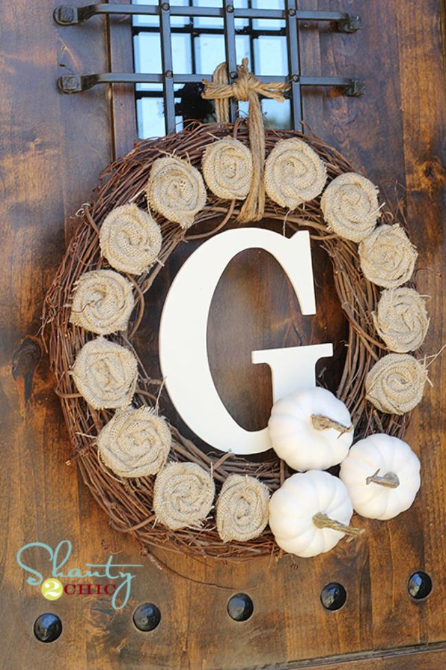 Fall Monogram Twig Wreath