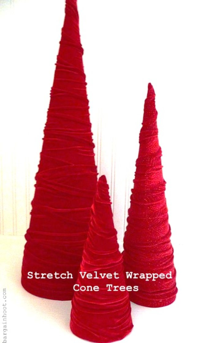 Stretch Velvet Wrapped Cone Trees