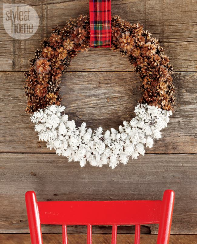 Dipped Pine Cone Wreath