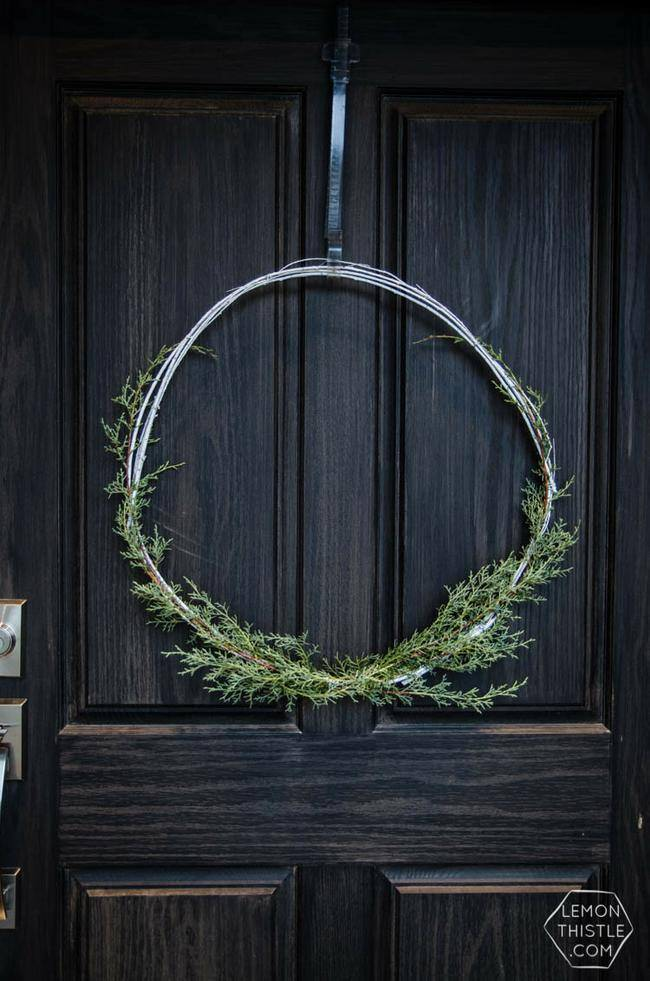 Minimal Holiday Wreath with Twigs & Greenery